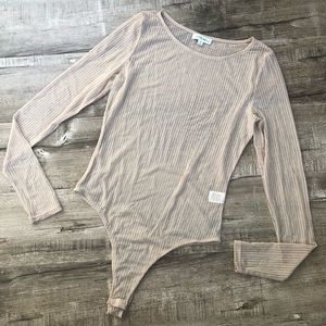 Cotton Candy LA Nude Sheer Striped Bodysuit Med